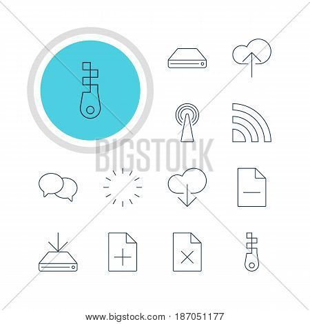 Vector Illustration Of 12 Web Icons. Editable Pack Of Delete Data, Data Upload, Fastener And Other Elements.