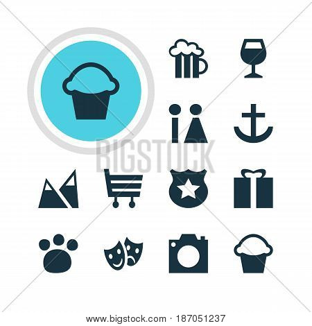 Vector Illustration Of 12 Check-In Icons. Editable Pack Of Beer Mug, Photo Device, Anchor And Other Elements.