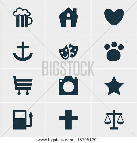 Vector Illustration Of 12 Check-In Icons. Editable Pack Of Pet Shop, Home, Anchor And Other Elements.