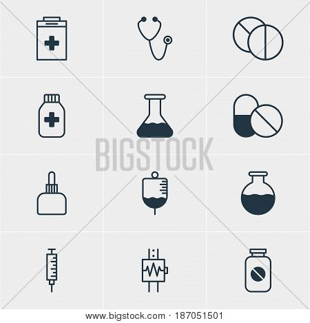Vector Illustration Of 12 Medical Icons. Editable Pack Of Vial, Heartbeat, Medicament Pitcher And Other Elements.