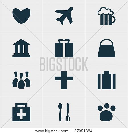 Vector Illustration Of 12 Map Icons. Editable Pack Of Drugstore, University, Aircraft And Other Elements.