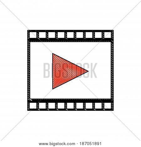 drawing strip film play movie cinema symbol vector illustration