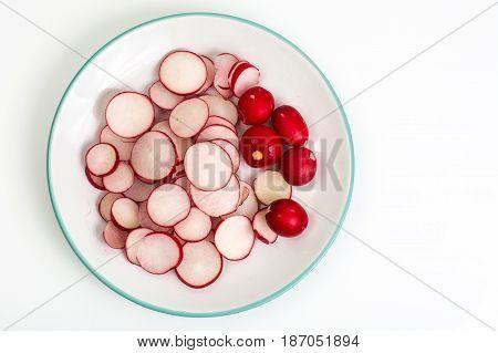 Fresh crispy radish, sliced slices Studio Photo