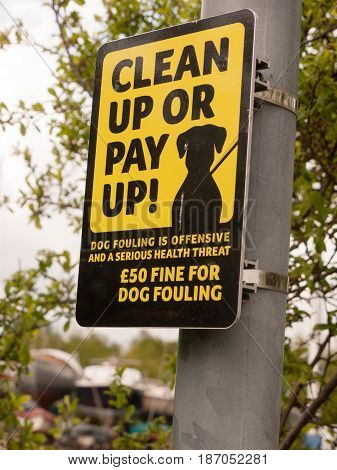 Black And Yellow Sign Outside On Pole Saying Clean Up Or Pay Up Dog Fouling