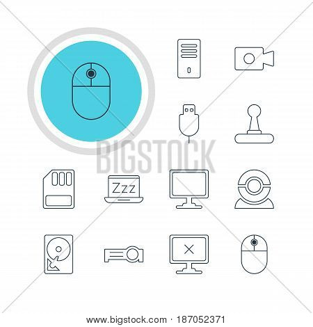 Vector Illustration Of 12 Laptop Icons. Editable Pack Of Cursor Manipulator, Web Camera, Presentation And Other Elements.