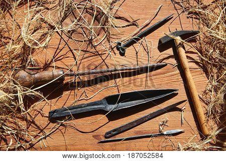 Esparto halfah grass crafts workshop tools traditional