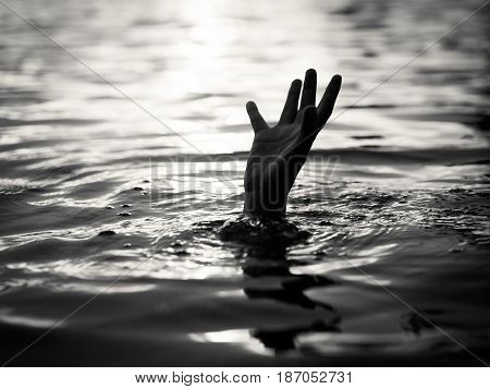 Black and white of Drowning victims Hand of drowning man needing help. Failure and rescue concept.