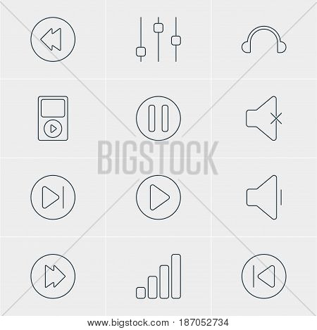 Vector Illustration Of 12 Melody Icons. Editable Pack Of Soundless, Preceding, Reversing And Other Elements.