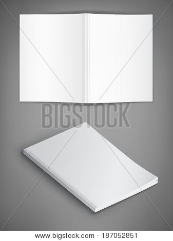 Vector mockup of magazine cover on gray background. Template for your design.