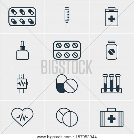 Vector Illustration Of 12 Medicine Icons. Editable Pack Of Round Tablet, Exigency, Antibiotic And Other Elements.