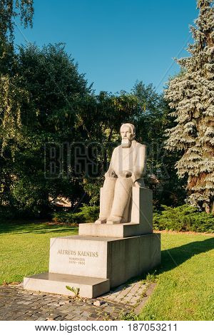 Riga, Latvia - July 2, 2016: Monument To Latvian Composer, Organist, Pedagogue, Music Critic And Conductor Alfred Kalnynsh In City Park. The Founder Of National Latvian Opera