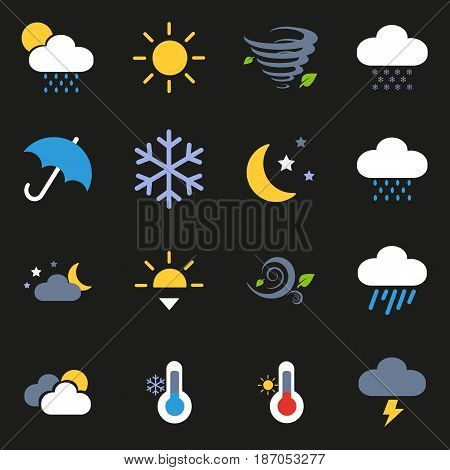 Dark series. weather icon set.Weather Flat Icons Set. Climate Flat Icons Set.