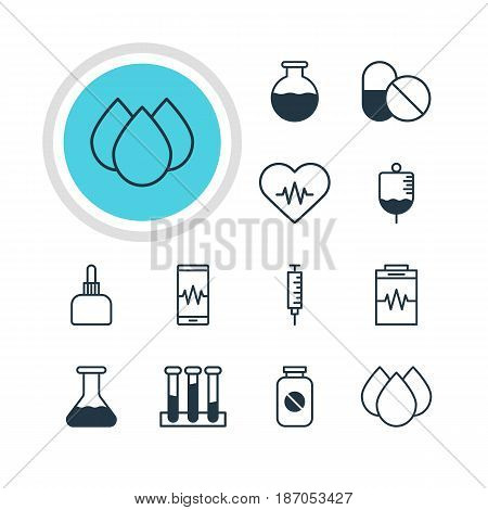 Vector Illustration Of 12 Health Icons. Editable Pack Of Aspirin, Trickle, Experiment Flask And Other Elements.