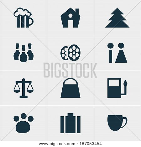 Vector Illustration Of 12 Location Icons. Editable Pack Of Home, Briefcase, Scales And Other Elements.