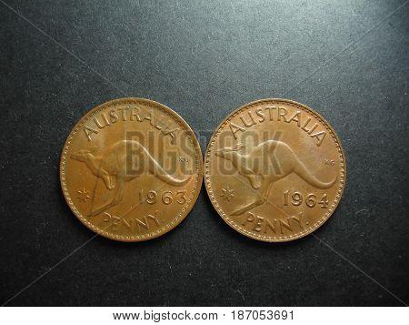 Pre-decimal vintage Australian One Penny Kangaroo.copper coins.