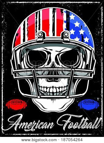 American football Skull Varsity t shirt graphics vector graphics and typography t-shirt design