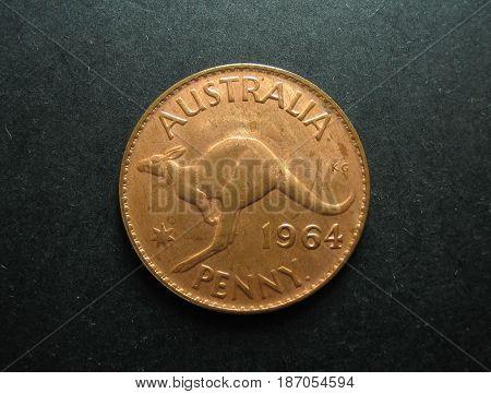 Pre-decimal vintage Australian One Penny copper coin.