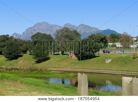 THE BREDE RIVER PASSES THROUGH PAARL, CAPE TOWN, SOUTH AFRICA