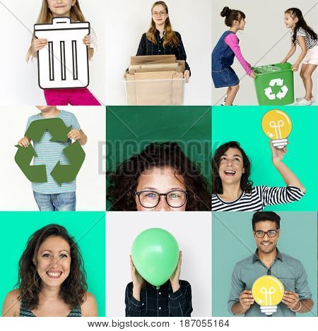 Collages diverse people environment recycle