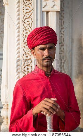 Indian guardian at City Palace, Jaipur, India.