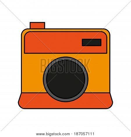 color image cartoon analog camera with flash vector illustration