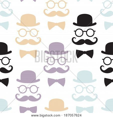 Seamless pattern with gentlemen. Vector illustration. Suitable for textiles wallpapers wrappers covers gift wrapping.