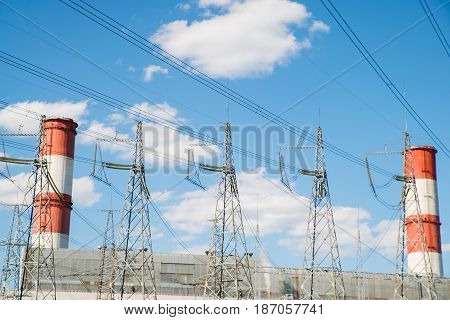 Atomic power station wiring to the city with electricity