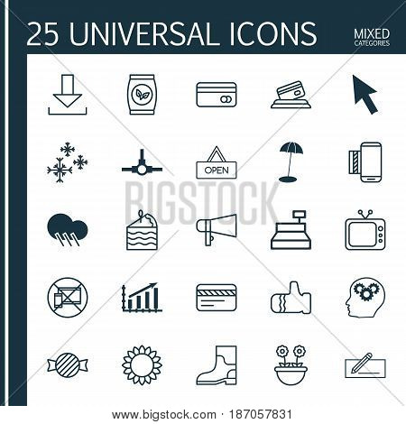 Set Of 25 Universal Editable Icons. Can Be Used For Web, Mobile And App Design. Includes Elements Such As Plastic Card, Board, Bullhorn And More.