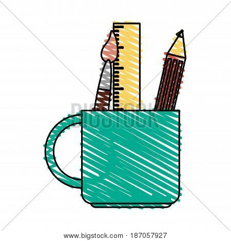 color crayon stripe cartoon pencil holder with brush and ruler vector illustration