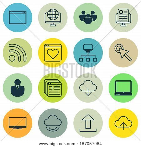 Set Of 16 World Wide Web Icons. Includes Send Data, Followed Website, Cursor Tap And Other Symbols. Beautiful Design Elements.