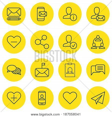 Set Of 16 Communication Icons. Includes Online Chatting, Follow, Teamwork And Other Symbols. Beautiful Design Elements.