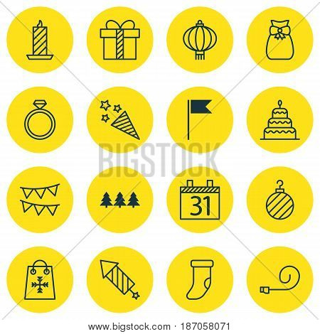 Set Of 16 Celebration Icons. Includes Dessert, Fireplace Decoration, Decorative Flags And Other Symbols. Beautiful Design Elements.