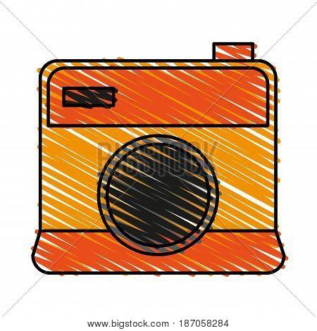 color crayon stripe cartoon analog camera with flash vector illustration