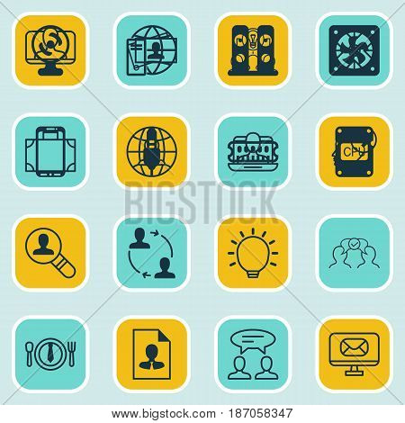 Set Of 16 Business Management Icons. Includes Calling Card, Collaborative Solution, Great Glimpse And Other Symbols. Beautiful Design Elements.