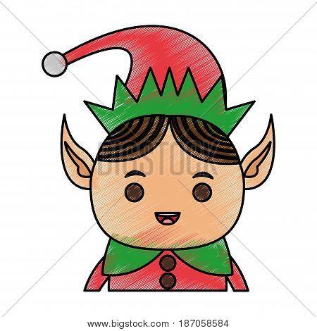 color pencil cartoon half body christmas elf with long ears vector illustration