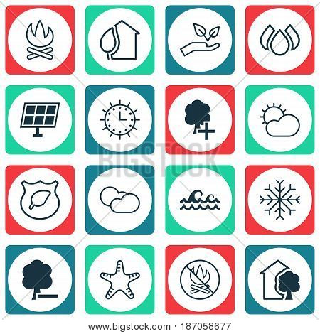 Set Of 16 Ecology Icons. Includes Delete Woods, Insert Woods, House And Other Symbols. Beautiful Design Elements.