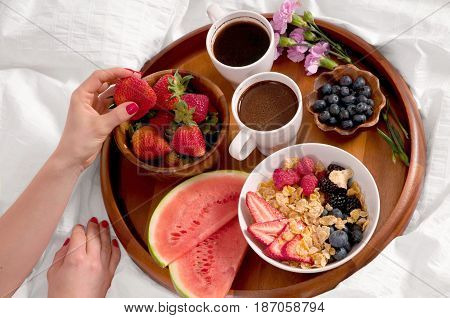 Healthy Breakfast And Coffee In The Bed.