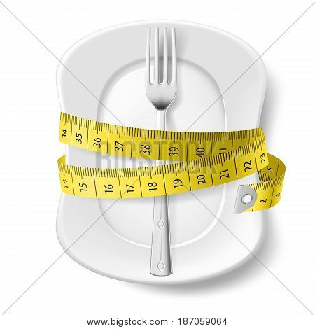 Clean Plate with Measuring Tape and Fork as Diet Concept. Illustration on White