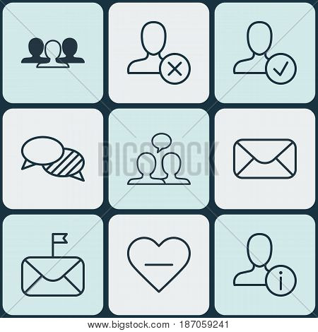 Set Of 9 Communication Icons. Includes Ban Person, Unfollow Icon, Profile Data And Other Symbols. Beautiful Design Elements.