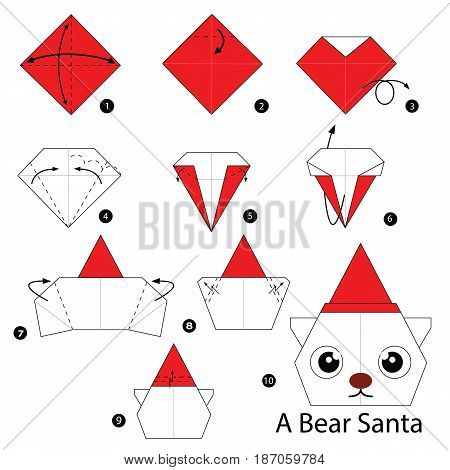 step by step instructions how to make origami a bear Santa.