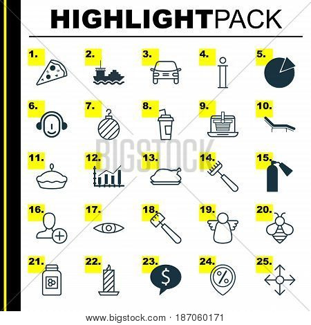 Set Of 25 Universal Editable Icons. Can Be Used For Web, Mobile And App Design. Includes Elements Such As Direction Arrows, Economy Growth, Employee And More.