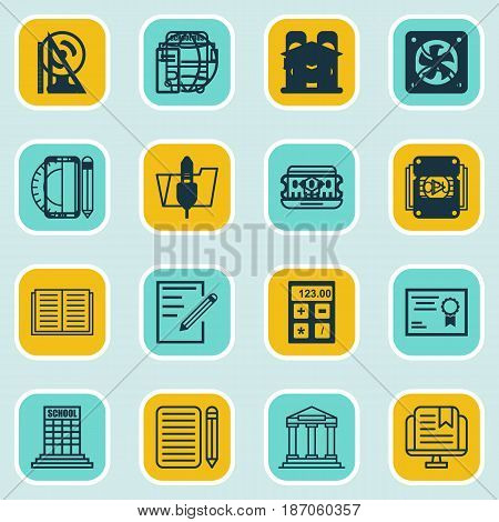 Set Of 16 School Icons. Includes Home Work, Taped Book, E-Study And Other Symbols. Beautiful Design Elements.
