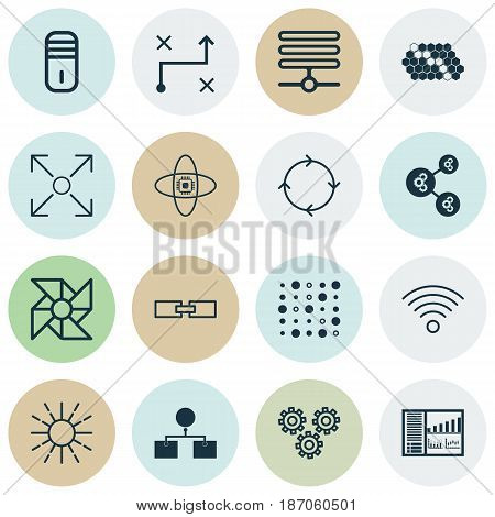 Set Of 16 Artificial Intelligence Icons. Includes Variable Architecture, Information Base, Mainframe And Other Symbols. Beautiful Design Elements.