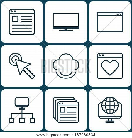 Set Of 9 Online Connection Icons. Includes Program, Local Connection, Cursor Tap And Other Symbols. Beautiful Design Elements.