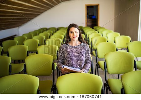 Beautiful Business Woman Sitting Alone Conference Hall