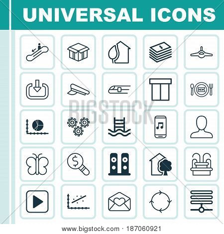 Set Of 25 Universal Editable Icons. Can Be Used For Web, Mobile And App Design. Includes Elements Such As House, Recurring Program, Dollar Banknote And More.