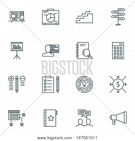 Set Of 16 Project Management Icons. Includes Computer, Board, Warranty And Other Symbols. Beautiful Design Elements.