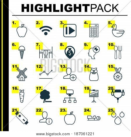 Set Of 25 Universal Editable Icons. Can Be Used For Web, Mobile And App Design. Includes Elements Such As Profile Data, Cutlery, Present Pouch And More.