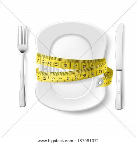 Plate with Knife Fork and Measure Tape. Illustration on White