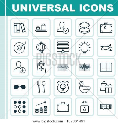 Set Of 25 Universal Editable Icons. Can Be Used For Web, Mobile And App Design. Includes Elements Such As Eating House, Computing Problems, Suitcase And More.